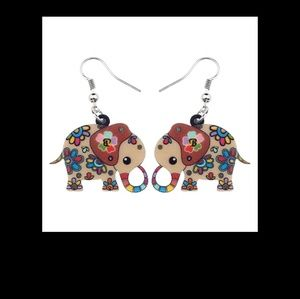 Brown  multi Acrylic Floral Jungle Elephant Earri